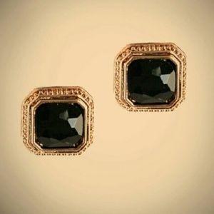 NEW Stunning Black Gem Stud Earrings